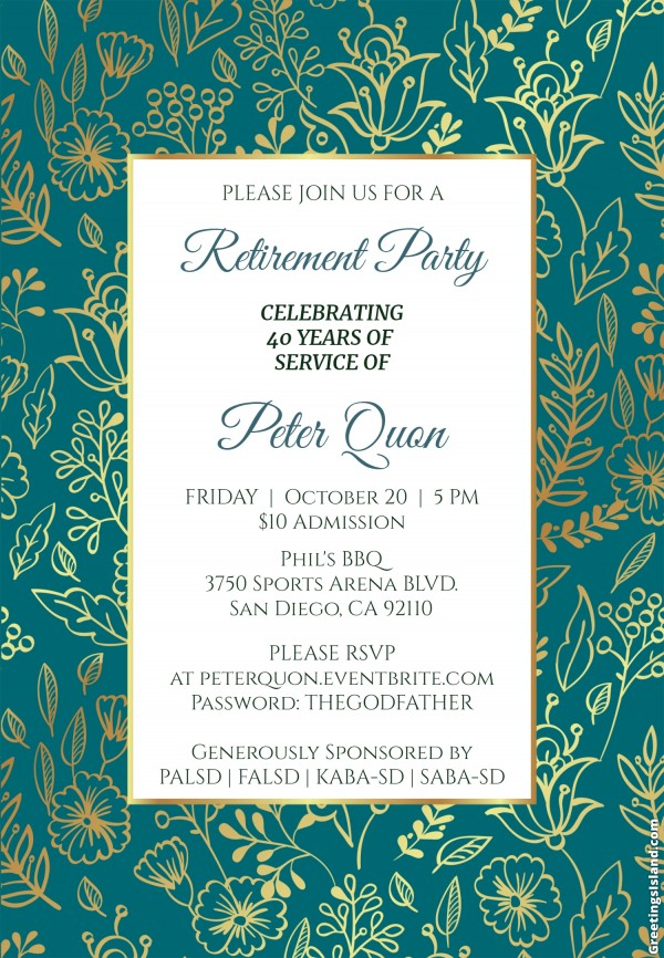 Peter Quon Retirement Party Flyer